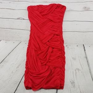 Asos Dress Size 4 Womens Red Strapless Sleeveless